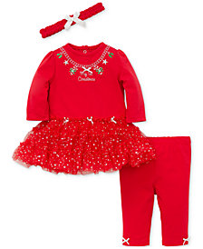 Little Me Baby Girls 3-Pc. Headband, Tutu Dress & Leggings Set