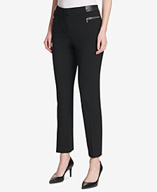 Calvin Klein Faux-Leather-Trim Ponté-Knit Pants