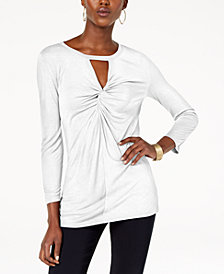 I.N.C. Twist-Front Keyhole Top, Created for Macy's
