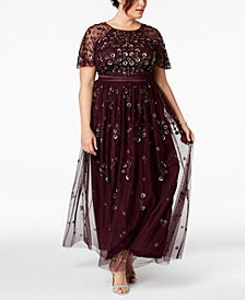 Adrianna Papell Plus Size Floral-Sequined Gown
