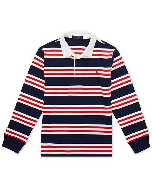c9f641ff72d Polo Ralph Lauren Big Boys Striped Cotton Jersey Rugby Shirt ...