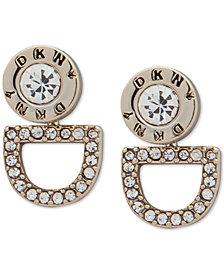 DKNY Silver-Tone Crystal Logo Floater Earrings