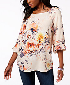 Charter Club Printed Blouson-Sleeve Top, Created for Macy's