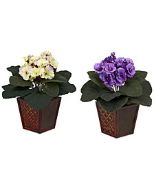 Nearly Natural 2-Pc.  African Violet Artificial Plant Set in Vases