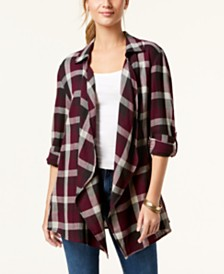 Style & Co Cotton Open-Front Plaid Completer, Created for Macy's