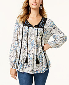 Style & Co Studded Printed Peasant Top, Created for Macy's