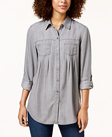 Style & Co Pleated Roll-Tab-Sleeve Shirt, Created for Macy's