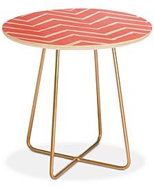 Georgiana Paraschiv Distressed Chevron Light Salmon Pink Round Side Table