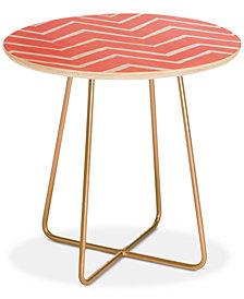 Deny Designs Georgiana Paraschiv Distressed Chevron Light Salmon Pink Round Side Table