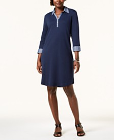 Karen Scott Cotton Collared Dress, Created for Macy's