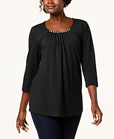 Karen Scott Faux-Pearl-Embellished Scoop-Neck Top, Created for Macy's