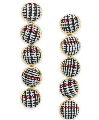 I.N.C. Gold-Tone Fabric Ball Linear Drop Earrings, Created for Macy's
