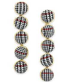 I.N.C. Gold-Tone Fabric Ball Linear Drop Earrings, Created for Macy's