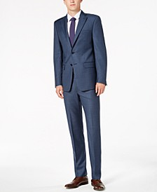 Men's Classic-Fit Stretch Blue Neat Suit Separates