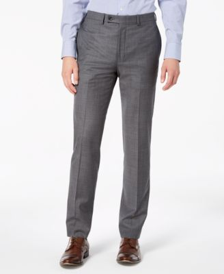 Men's Slim-Fit Stretch Gray Sharkskin Suit Pants