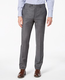 Calvin Klein Men's Slim-Fit Stretch Gray Sharkskin Suit Pants