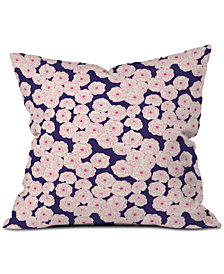 Deny Designs Joy Laforme Floral Sophistication In Navy Throw Pillow
