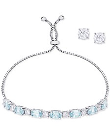 Simulated Blue Topaz Slider Bracelet & Cubic Zirconia Stud Earrings Set In Fine Silver-Plate, December Birthstone