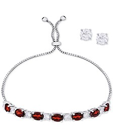 Simulated Garnet Slider Bracelet & Cubic Zirconia Stud Earrings Set In Fine Silver-Plate, January Birthstone