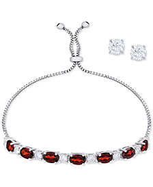 Birthstone Jewelry Set Collection: Slider Bracelet & Cubic Zirconia Stud Earrings in Fine Silver-Plate
