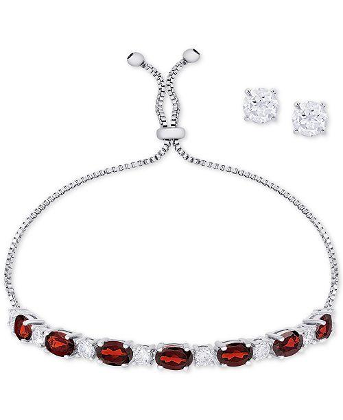 16af8232f ... Macy's Simulated Garnet Slider Bracelet & Cubic Zirconia Stud Earrings  Set In Fine Silver-Plate ...