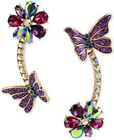 Betsey Johnson Gold-Tone Multi-Stone Flower & Butterfly Mismatch Linear Drop Earrings