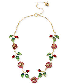 "Betsey Johnson Gold-Tone Multicolor Crystal Rose Collar Necklace, 16"" + 3"" extender"