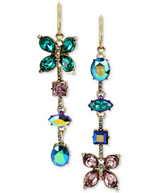 Betsey Johnson Gold-Tone Multi-Stone Butterfly Mismatch Linear Drop Earrings