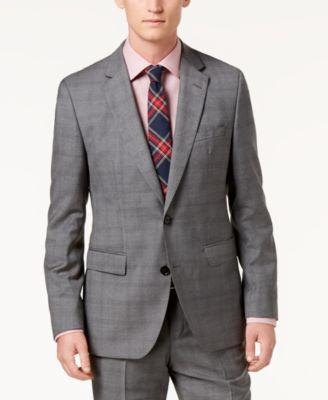 Men's Modern-Fit Medium Gray Glen Plaid Suit Jacket