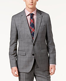 Hugo Boss Men's Modern-Fit Medium Gray Glen Plaid Suit Jacket