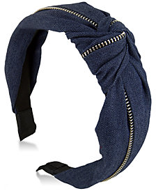 GUESS Denim Knotted & Zippered Headband