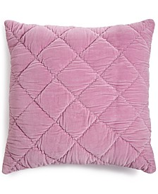 "CLOSEOUT! Whim By Martha Stewart Collection Quilted Velvet 26"" Square Decorative Pillow, Created for Macy's"