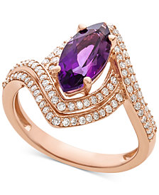 Amethyst (1-1/2 ct. t.w.) & Diamond (1/2 ct. t.w.) Marquise Statement Ring in 14k Rose Gold