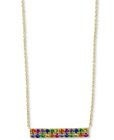 "EFFY® Multi-Gemstone Bar 18"" Pendant Necklace (1/5 ct. t.w.) in 14k Gold"