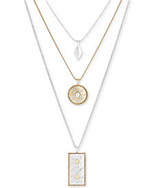 "Lucky Brand Two-Tone Patterned Layer Pendant Necklace, 15-1/2"" + 2"" extender"