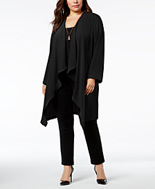 Nine West Plus Size Wide-Lapel Duster Jacket