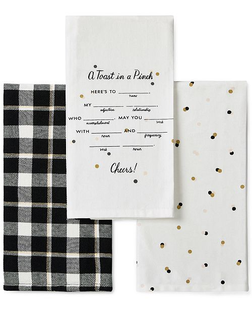 kate spade new york 3-Pc. Toast In A Pinch Kitchen Towel Set ...