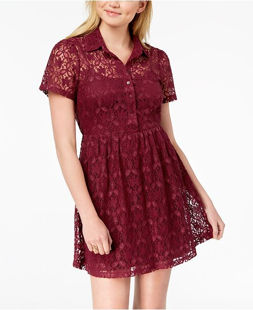 Be Lace Bop Wine Juniors' Shirtdress rxrvpqBwS