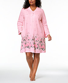 Charter Club Plus Size Cotton Floral-Border Robe, Created for Macy's