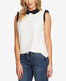 CeCe Colorblocked Collar Top