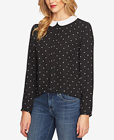 CeCe Polka Dot Peter-Pan-Collar Blouse