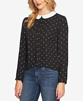 d9c72e78e0e08 CeCe Polka Dot Peter-Pan-Collar Blouse
