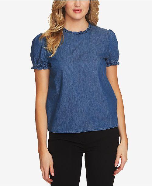 84938db91839b4 CeCe Ruffled Denim Cotton Top   Reviews - Tops - Women - Macy s
