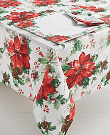"Bardwil Christmas Watercolor Poinsettia 60"" x 120"" Tablecloth"