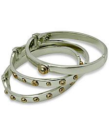 GUESS Two-Tone 3-Pc. Set Studded Bangle Bracelets