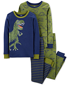 Carter's Little & Big Boys 4-Pc. Dino-Print Cotton Pajamas Set