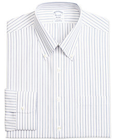 Brooks Brothers Men's Regent Slim-Fit Non-Iron Blue Red Alternative Multi-Stripe Dress Shirt