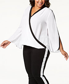 I.N.C. Plus Size Contrast-Trim Surplice Top, Created for Macy's