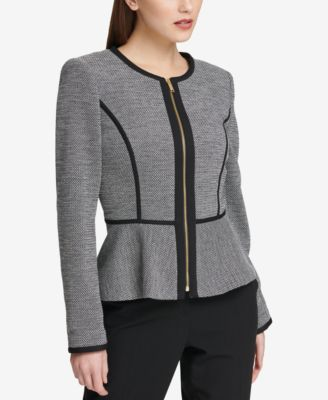 Knit Piped Peplum Blazer, Created for Macy's