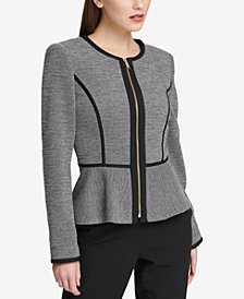 DKNY Knit Piped Peplum Blazer, Created for Macy's